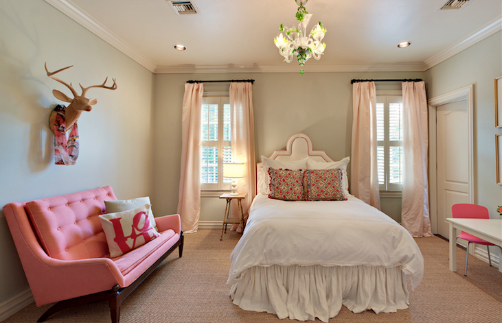 Cote de Texas - girl's rooms - pink, silk, headboard, pink, silk, drapes, gray, green, walls, pink, tufted, settee, faux deer head, white, gourd, lamp, green, glass, chandelier, sisal rug, pink drapes, pink curtains, pink window panels, pink silk drapes, pink silk curtains, pink silk window panels,