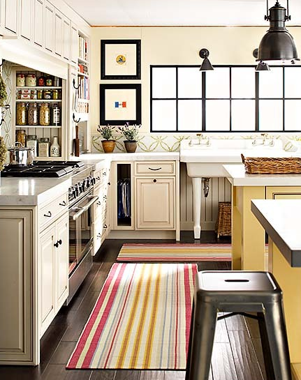 kitchens - Country Industrial Pendant, Tolix Stool, striped runner, striped kitchen runner, yellow kitchen island,  Greg Scheidmann  bright,