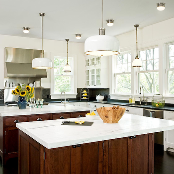 Emily Gilbert Photography - kitchens - double kitchen islands, double center islands, kitchen with double island, s kitchen with 2 islands, two tone kitchen, white industrial pendnats,