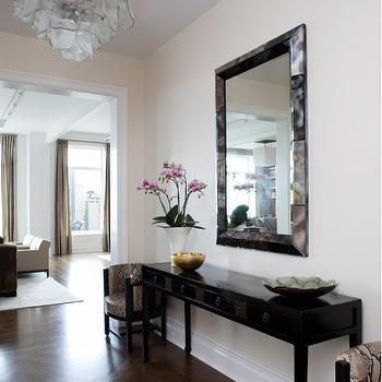 MR Architecture & Decor - entrances/foyers - antiqued mirror, beveled mirror, black console table, black foyer table, herringbone floor, herringbone wood floor,