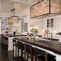 Modern Declaration - kitchens - double kitchen islands, fornasetti wallpaper, butcher block countertops, kitchen with two islands, Fornasetti Wallpaper,