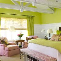 Laura Moss Photography - girl's rooms - apple green, walls, silk, drapes, chocolate, brown, headboard, green, bedding, chocolate brown, apple green, pillows, pink, slipcovered, chairs, pink, animal print, bench, green, rug, pink trim, sophisticated, adorable, girl's room, pink and green girls room, pink and green girls bedroom, pink and green room ideas, pink and green girls bedroom ideas,