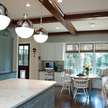 Cote de Texas - kitchens - hicks pendants, blue kitchen cabinets, blue cabinets, white marble counters, white marble countertops, wood beams, kitchen wood beams, Thomas O'Brien Hicks Pendant,