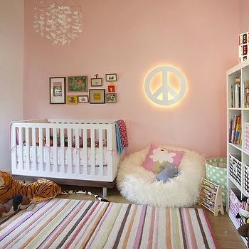 Feldman Architecture - nurseries - butterfly mobile, white butterfly mobile, butterflies mobile, modern crib, striped rug, expedit, expedit bookcase,