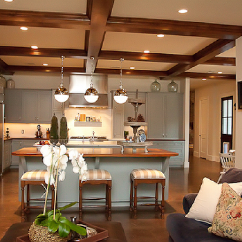 Cote de Texas - kitchens - wood beams, kitchen wood beams, coffered ceiling, kitchen coffered ceiling, blue gray cabinets, blue gray kitchen cabinets, hicks pendants, Thomas O'Brien Hicks Pendant,