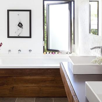 Modern bathroom design with floating rustic wood bathroom vanity