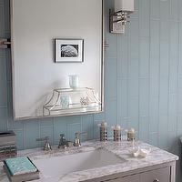 Mabley Handler - bathrooms - gray and blue bathroom, gray and blue bathroom design, gray and blue bathroom idea, blue glass tiles, blue subway tiles, blue glass subway tiles, blue glass subway tile backsplash, white marble countertops,