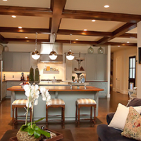Cote de Texas - kitchens - wood beams, kitchen wood beams, coffered ceiling, kitchen coffered ceiling, blue gray cabinets, blue gray kitchen cabinets, hicks pendants, Thomas O'Brien Hicks Pendant,