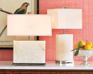 Lighting - Williams-Sonoma Home | Alabaster Block Lamp, Wide Lamp - alabaster, lamp