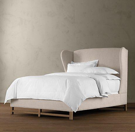 French Wing Upholstered Framed Bed