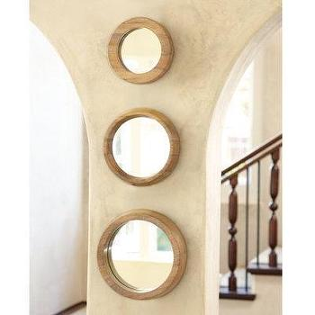 Mirrors - Set of 3 Round Wood Mirrors - Ballard Designs - 3, round, mirrors
