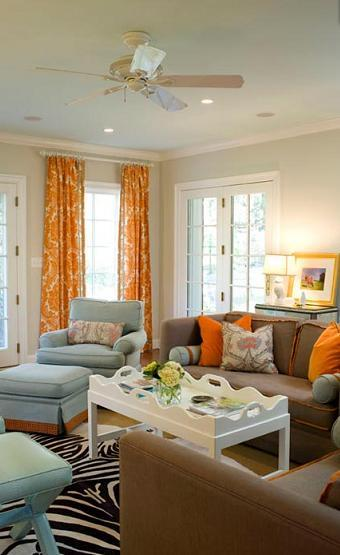Orange damask curtains contemporary living room for Orange and brown living room ideas