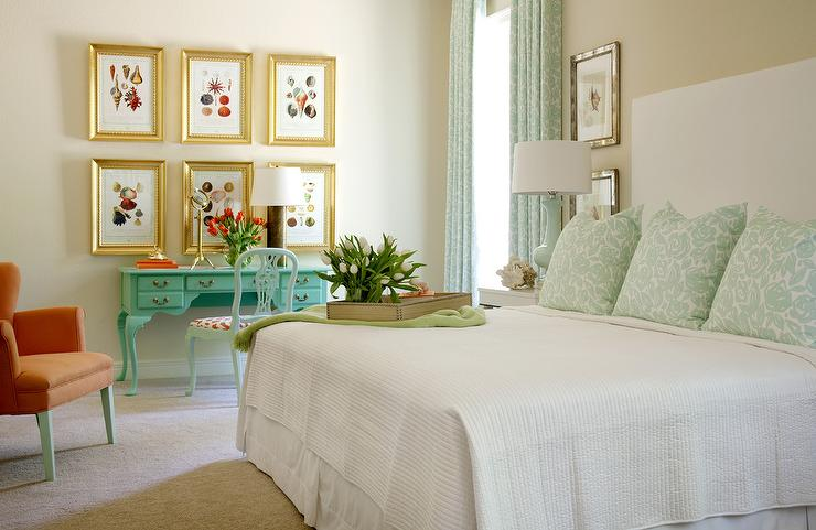bedrooms - turquoise desk  Unexpected color makes the room pop