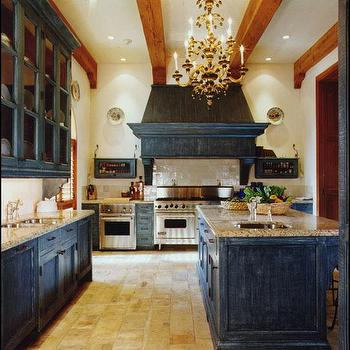 kitchens - distressed cabinets, distressed kitchen cabinets, dark cabinets, dark kitchen cabinets, dark distressed kitchen cabinets, blue cabinets, blue kitchen cabinets, blue distressed cabinets, blue distressed kitchen cabinets, blue range hood, blue kitchen hood,