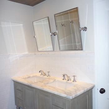 bathrooms - restoration hardware, double vanity, calcutta gold marble, grohe faucet, gray bathroom, gray bathroom cabinets, gray bathroom vanity,