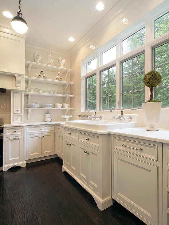 Oxford Development - kitchens - Thomas O'Brien Hicks Pendant, white kitchen cabinets, calcutta marble, calcutta marble countertops, kitchen shelves, white kitchen cabinets with dark wood floors,