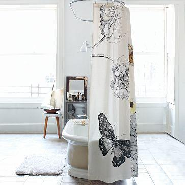 Bath - Butterfly Shower Curtain | west elm - butterfly, shower, curtain