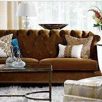 living rooms - sofa, candice olson, tufted, brown,  Tufted Brown Sofa
