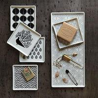 Bath - Porcelain Soap Dishes + Tray | west elm - porcelian, soap, dishes