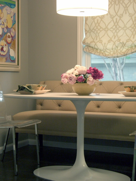 Terri Symington - dining rooms - Fioretto Sprout Fabric, Ikea DOCKSTA, oval saarinen dining table, dining bench, tufted dining bnech,  Pretty