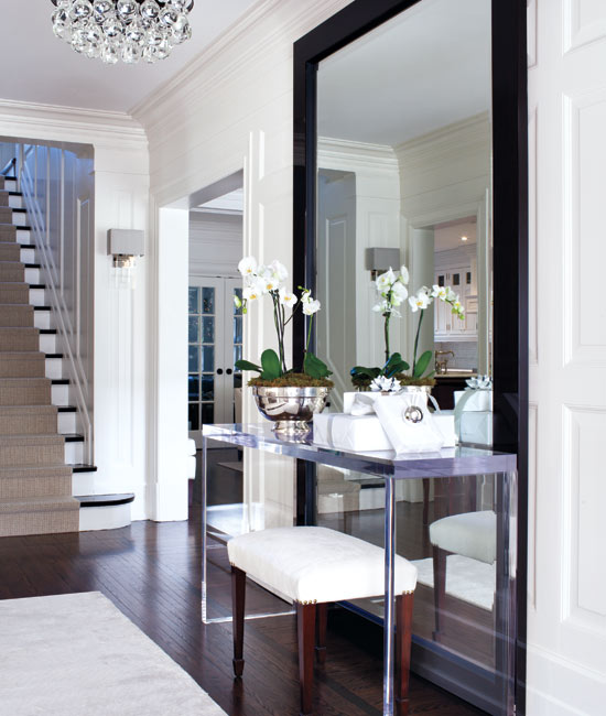 McGill Design Group - entrances/foyers - Arctic Pear Chandelier, The Johnny Table, The Wonder Mirror, lucite console table, floor mirror, floor mirror behind table, floor mirror framing table, black floor mirror, lacquered floor mirror, black lacquer floor mirror,