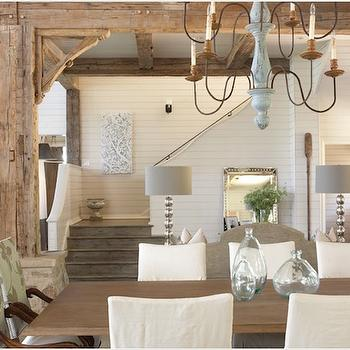 Tracery Interiors - dining rooms - wood beams, rustic wood beams, dining room wood beams, candle chandelier, slipcovered dining chairs,  Beachy
