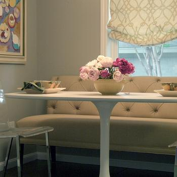 Terri Symington - dining rooms - oval saarinen dining table, dining bench, tufted dining bnech, Fioretto Sprout Fabric, Ikea DOCKSTA,  Pretty