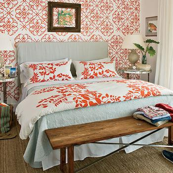 Dwell peacock duvet transitional bedroom summer for White and orange bedroom designs