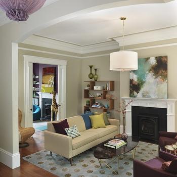 Purple and Beige Living Room, Contemporary, living room, Rachel Reider Interiors