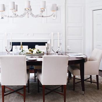 McGill Design Group - dining rooms: lucite chandelier, oval dining table, espresso dining table, oval espresso dining table, espresso oval dining table, white dining chairs, upholstered dining chairs, parsons dining chairs, dining room fireplace, fireplace in dining room,