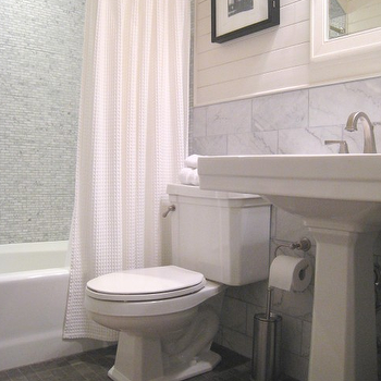 Tracery Interiors - bathrooms - basketweave shower curtain, white shower curtain, pedestal sink, mosaic tile shower surround, mosaic marble shower surround,