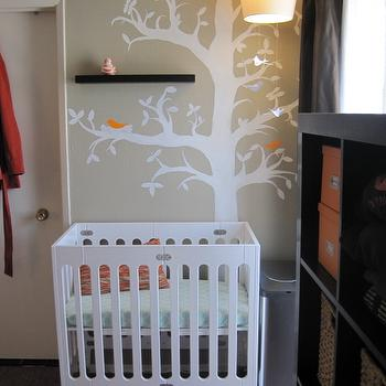 HGTV - nurseries - treel mural, tree wall mural, wall stencil, tree wall stencil, tree stencil for wall, grey and orange nursery, grey and orange nursery design,