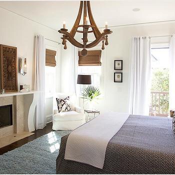 Wood Chandelier, Cottage, bedroom, Tracery Interiors