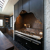 Tracery Interiors - kitchens - herringbone backsplash, brick tile herringbone backsplash, brick herringbone backsplash, kitchen herringbone backsplash, herringbone kitchen backsplash, cooktop herringbone backsplash, herringbone cooktop backsplash, range alcove, stove alcove, alcove stove, alcove range,
