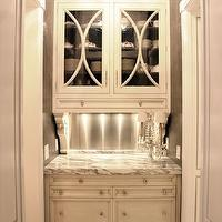 KItchen Lab - kitchens - butler&#039;s pantry, white, glass-front, cabinets, calcutta, marble, countertops, stainless steel, backsplash, glossy, black, crystal chandelier, butlers pantry cabinets, butler pantry cabinets, white butler&#039;s pantry cabinets, white butler pantry cabinets, glass front cabinets, glass front butler pantry cabinets, glass front butlers pantry cabinets,