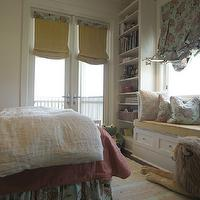 Tracery Interiors - girl's rooms - white, gray, striped, rug, built-ins, window seat, bookshelf, yellow, cushion, pink, turquoise, blue, pillows, window treatments, yellow, roman shades, French doors,