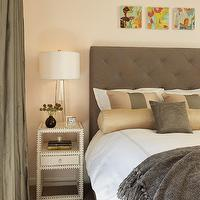 Rachel Reider Interiors - bedrooms - gray, blue, tufted, headboard, gray, hotel bedding, gray, salmon pink, striped, silk, bolster, pillows, gray, silk, drapes, ivory, faux crocodile, nailhead trim, nightstand, , table, tapered, glass, lamp, pink, walls, Bungalow 5 Marco Table,