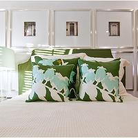 Tracery Interiors - bedrooms - green, turquoise, silk, pillows, green, headboard, tapered, glass lamp, blue, shade, photo gallery, headboard, photo walls, photo wall collage, photo wall ideas,