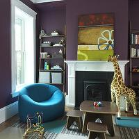 Rachel Reider Interiors - boy's rooms - flor tiles, flor carpet tiles, turquoise bean bag, purple walls, play table and chairs, ladder bookshelf, ladder bookcase,