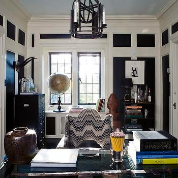 Windsor Smith Home - dens/libraries/offices - blue ceiling, painted blue ceiling, blue painted ceiling, blue office ceiling,  Glossy black office