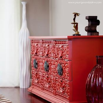 SVZ Interior Design - living rooms - red chinese cabinet, chinese chippendale  cabinet, red sideboard, red cabinet, red credenza,  This piece