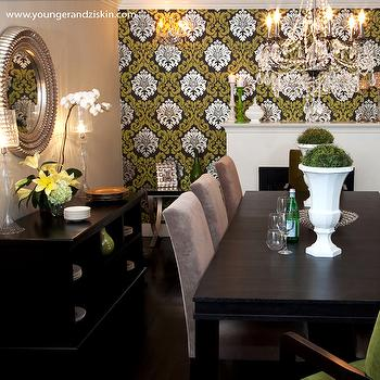 Wallpapered Accent wall, Contemporary, dining room, SVZ Interior Design