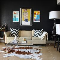living rooms - black living room, cowhide, lucite, ikea,  black living room, cowhide, lucite, ikea