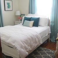 bedrooms - aqua, white, target, turquoise,  My very tiny 9x9 bedroom.  Target curtains, Rug from Homesense.