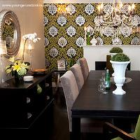 SVZ Interior Design - dining rooms - wallpapered accent wall, damask wallpaper, espresso dining table, dark brown dining table,  Elegant, colorful,