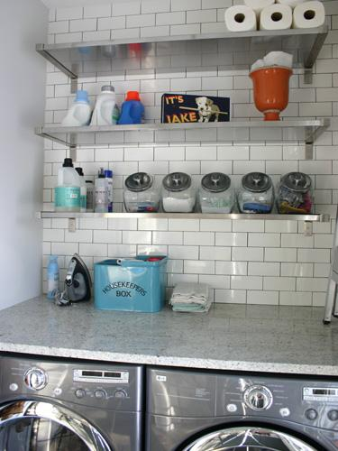 KItchen Lab - laundry/mud rooms - gray, washer, dryer, stone, countertop, stainles steel, shelves, subway tiles, backsplash, canisters, white granite countertops, white granite,