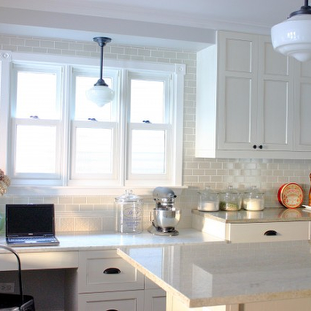 KItchen Lab - kitchens - granite, granite countertops, white granite countertops, white granite, white kitchen cabinets, schoolhouse pendants, kitchen desk,