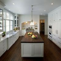 Caden Design Group - kitchens - butcher block, countertops, white, glass-front, kitchen, glass-front, cabinets, calcutta, marble, countertops, backsplash, pendants, butcher block, butcher block countertops, butcher block kitchen island, butcher block island,