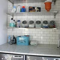 KItchen Lab - laundry/mud rooms - white granite countertops, white granite, , stainless steel shelves, stainless steel shelving, laundry room, laundry room shelving, laundry room shelves,