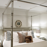 Heather Garrett Design - bedrooms - ivory, mirrored, blue, silk, drapes, tan, sand, walls, silver, hammered lamps, silver, sunburst, mirror, silver, canopy, bed, Oly Studio Elisabeth Bedside Table,